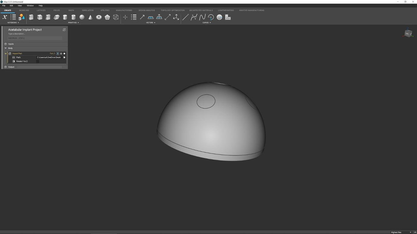 nTop CAD geometry