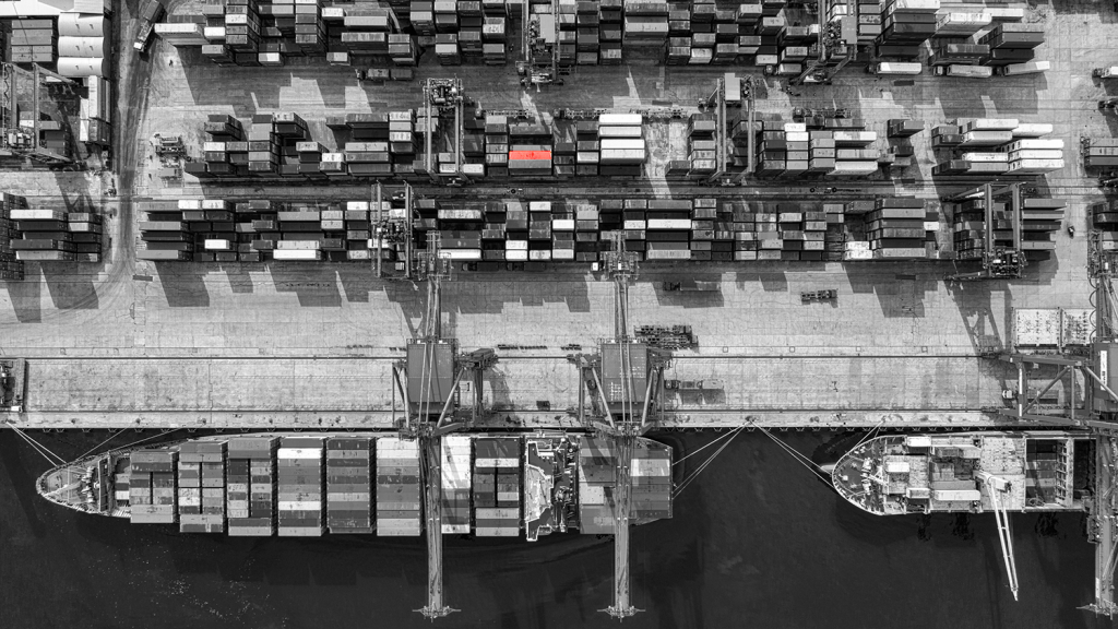supply chains aerial view of shipping containers