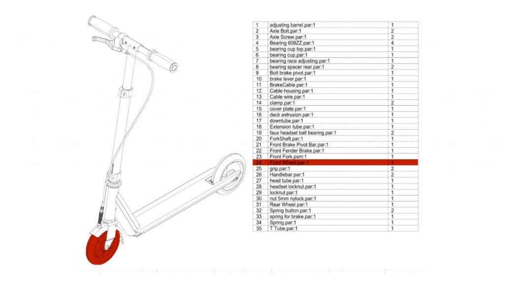QuadriSpace Document3D scooter parts list