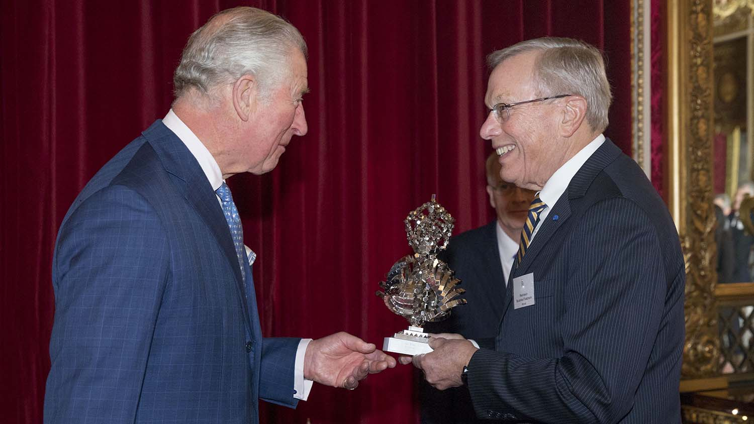 2019 QEPrize trophy presented by HRH The Prince of Wales to Dr Bradford Parkinson