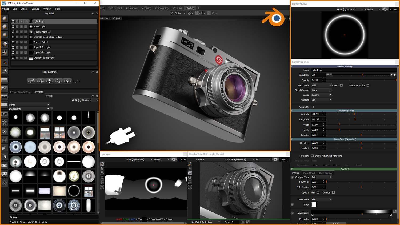 HDR Light Studio Blender Interface