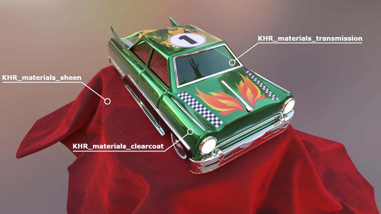 glTF Khronos 2020-Toy-car-model-illustrating-the-use-of-glTFs-three-new-PBR-extensions
