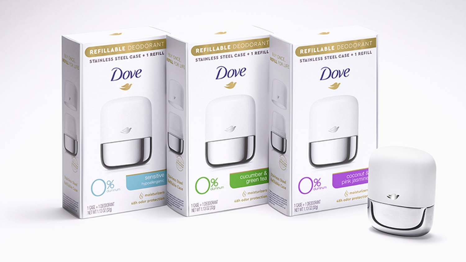 Dove refillable deodrant packaging