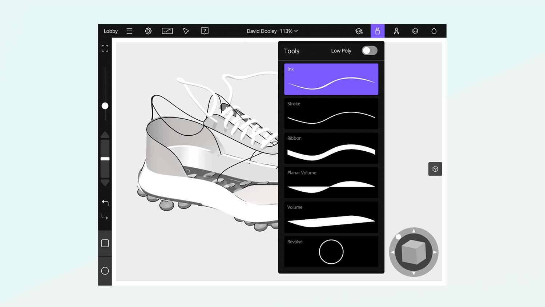 Gravity Sketch iPad app tools