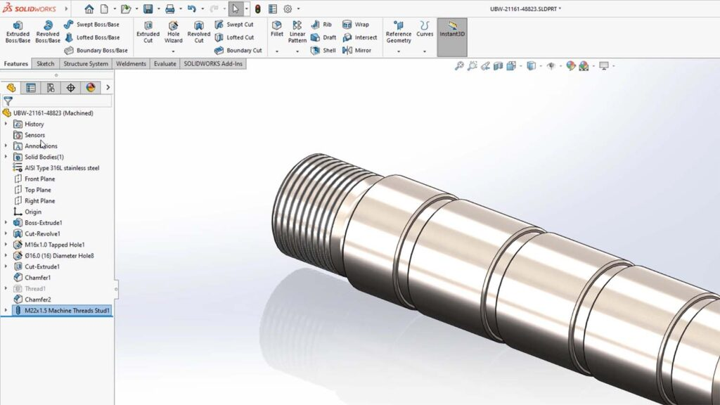 Solidworks 2022 - stud wizard feature